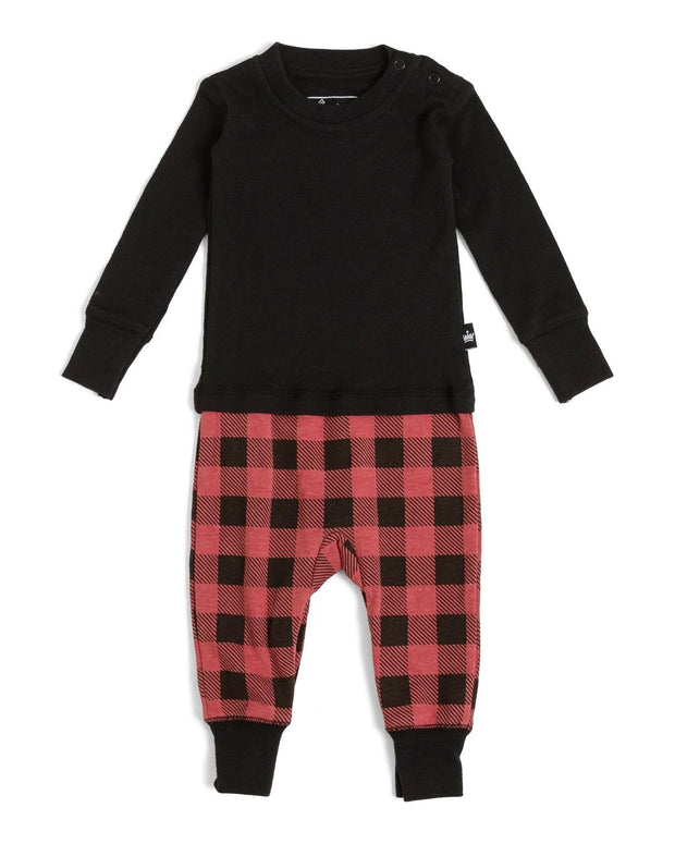 Red Buffalo Check Infant Pajama Romper (Style A)
