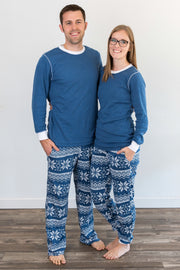 Navy Snowflake Matching Family Pajamas