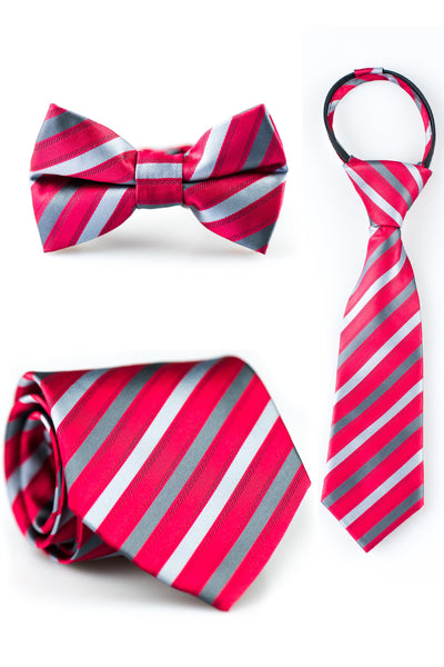 Charcoal and Ruby Stripe Tie
