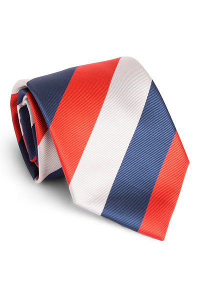 Coral and Navy Stripe Tie