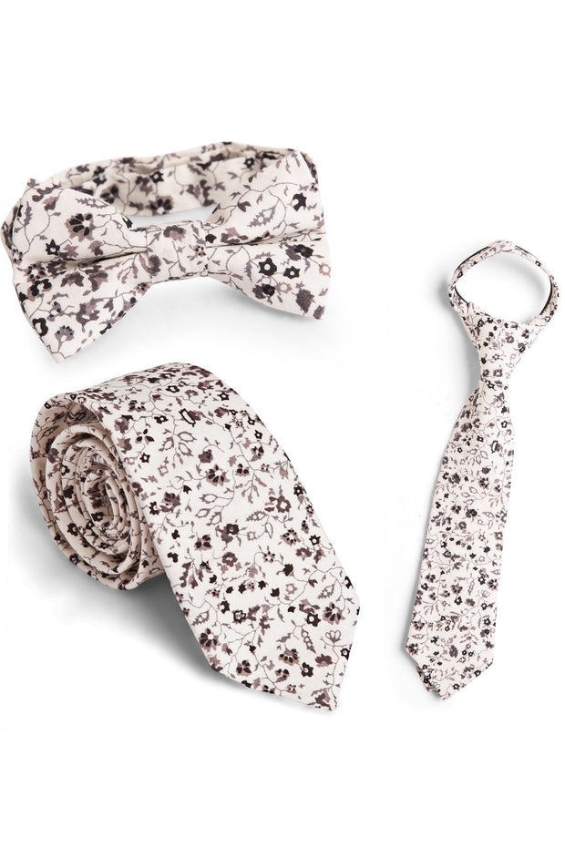 Cream and Sable Floral Tie