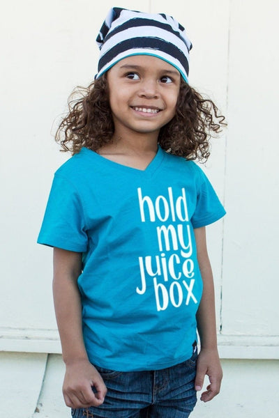 Hold My Juice Box Peacock V-Neck Tee