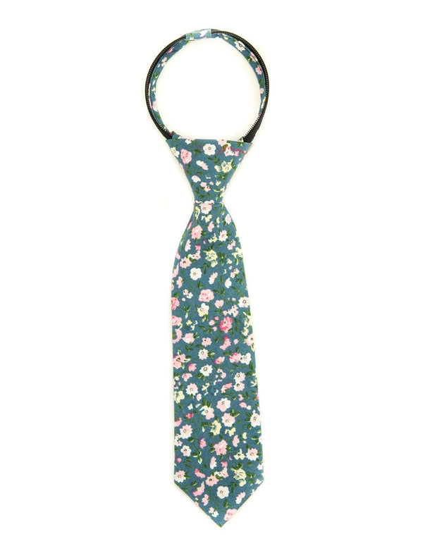 Blush and Blue Floral Zipper Tie (Boys and Men)