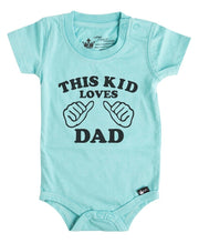 This Kid Loves Dad Aqua Crew Bodysuit