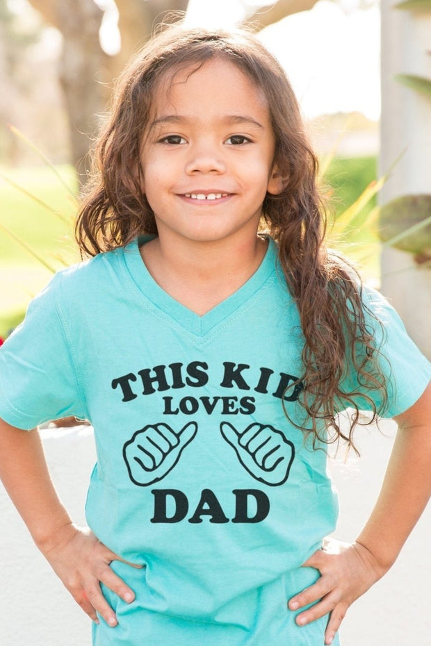 This Kid Loves Dad Aqua V-Neck Tee