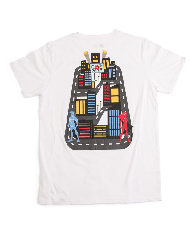 Play Mat Back Rub Shirt - Super Hero City - White Crew