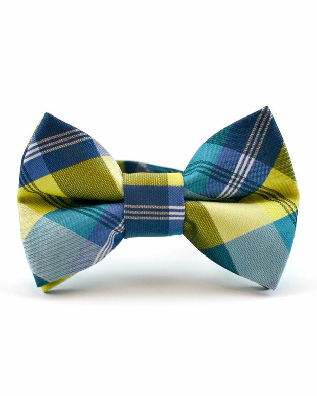 Pineapple and Navy Plaid Bow Tie (Boys and Men)