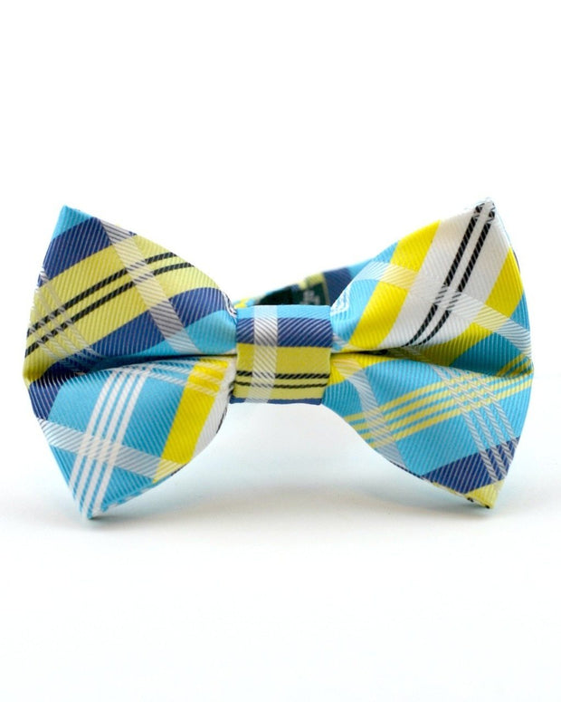 Lagoon and Lemon Plaid Bow Tie (Boys and Men)