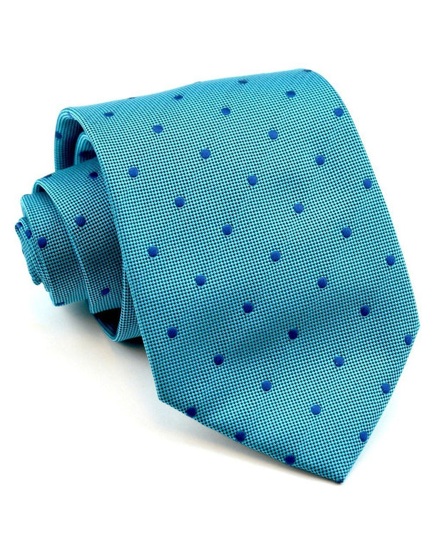 Peacock and Navy Dot Standard Necktie