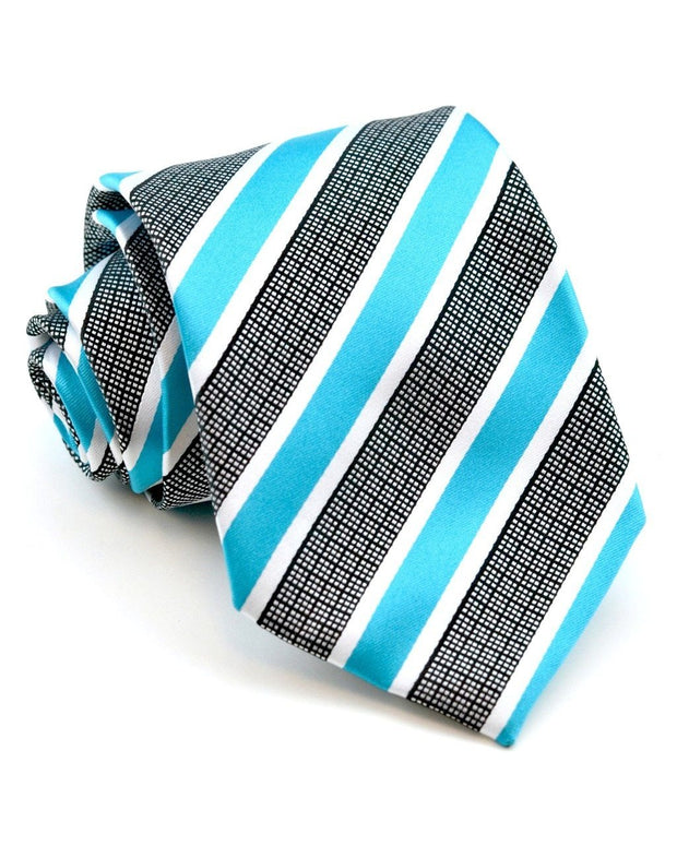 Teal and Checker Stripe Standard Necktie
