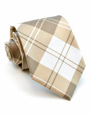 Mocha and Cream Plaid Standard Necktie