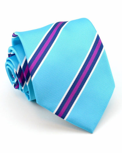 Turquoise and Berry Stripe Standard Necktie