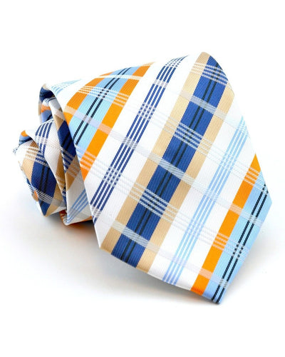 Indigo and Orange Plaid Standard Necktie
