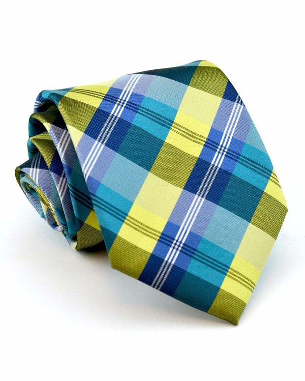 Pineapple and Navy Plaid Standard Necktie
