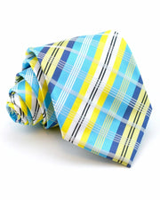 Lagoon and Lemon Plaid Standard Necktie