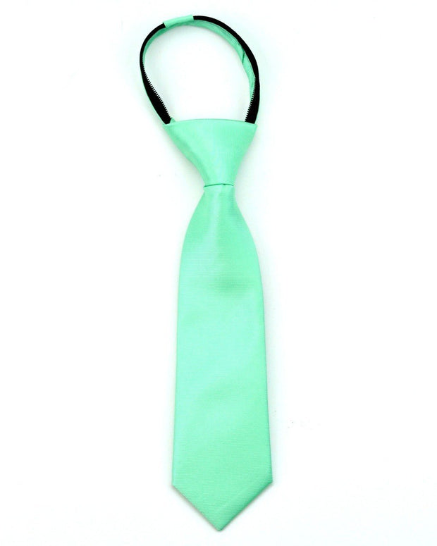 Mint Solid Zipper Tie
