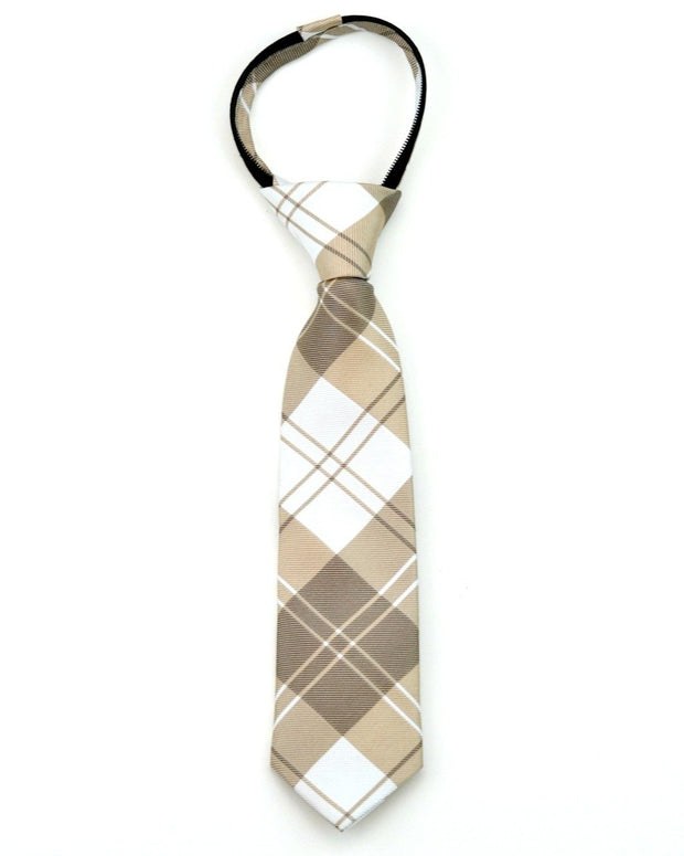 Mocha and Cream Plaid Zipper Tie