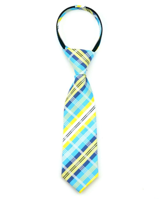 Lagoon and Lemon Plaid Zipper Tie