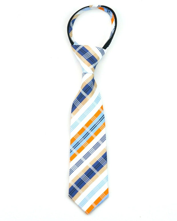 Indigo and Orange Plaid Zipper Tie