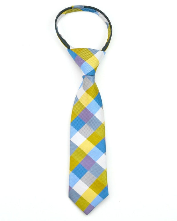 Gold and Blue Check Zipper Tie