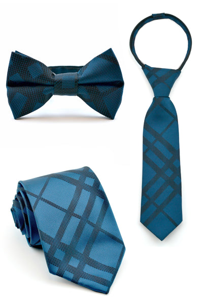 Deep Teal and Black Plaid Tie