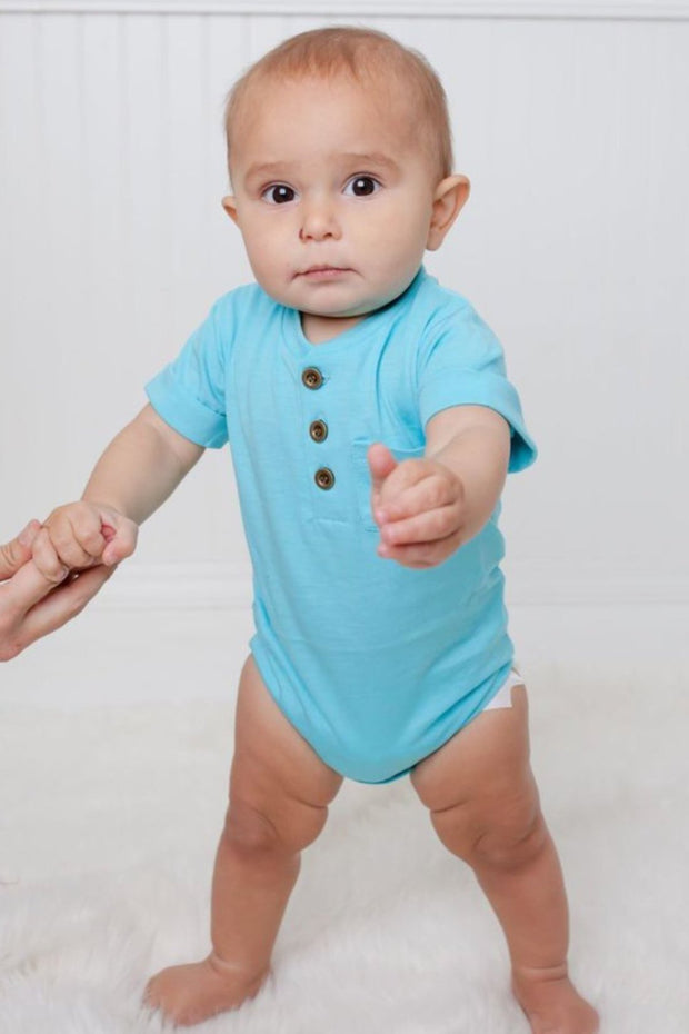 Aqua Short Sleeve Henley Bodysuit