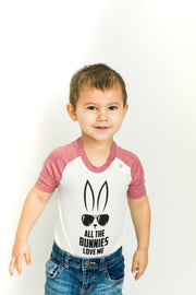 All The Bunnies Muted Red Raglan Bodysuit