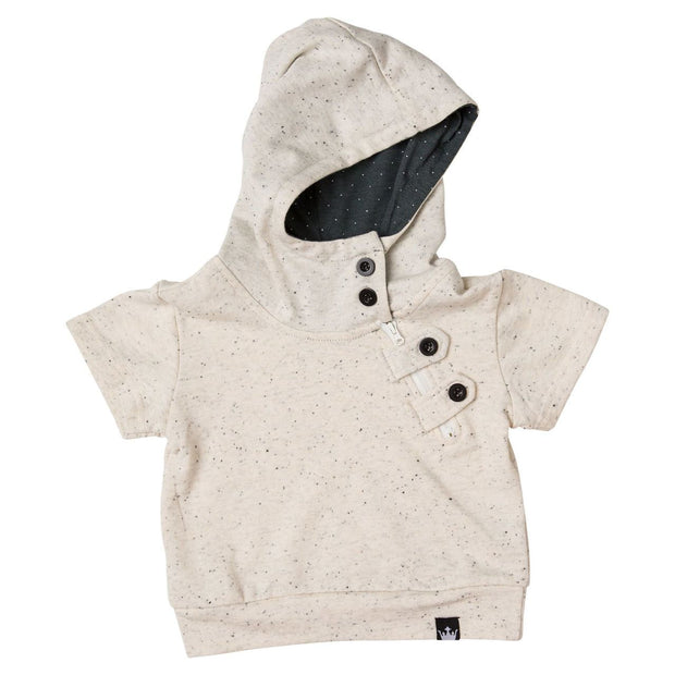 Cream French Terry Asymmetrical Zip Up Hoodie