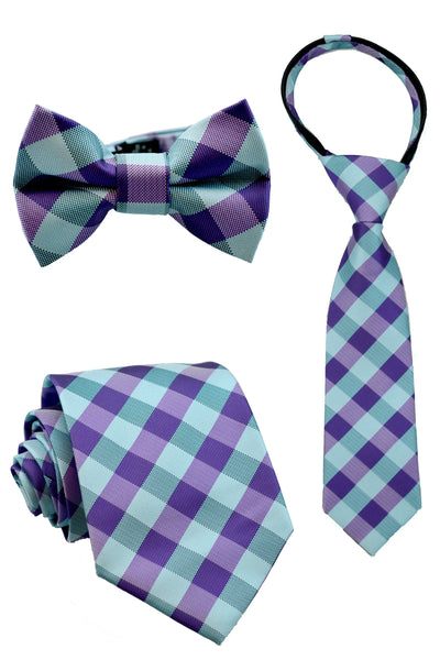 Eggplant and Teal Check Tie