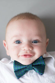 Emerald and Navy Squares Bow Tie (Boys and Men)