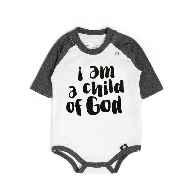 Child of God Charcoal Raglan Bodysuit