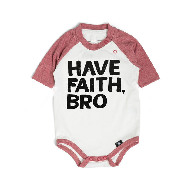 Have Faith Bro Muted Red Raglan Bodysuit