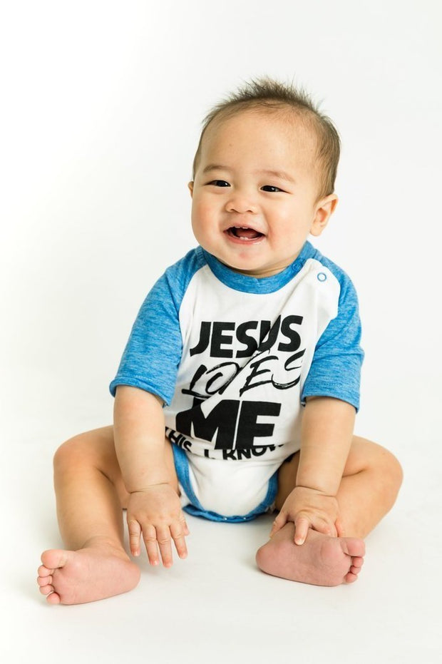 Jesus Loves Me Cobalt Blue Raglan Bodysuit