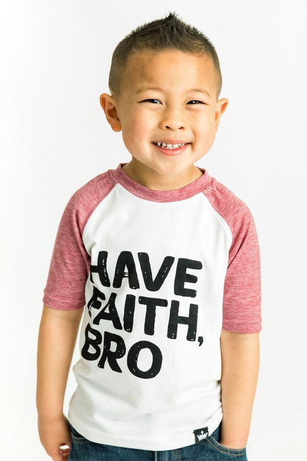 Have Faith Bro Muted Red Raglan Shirt