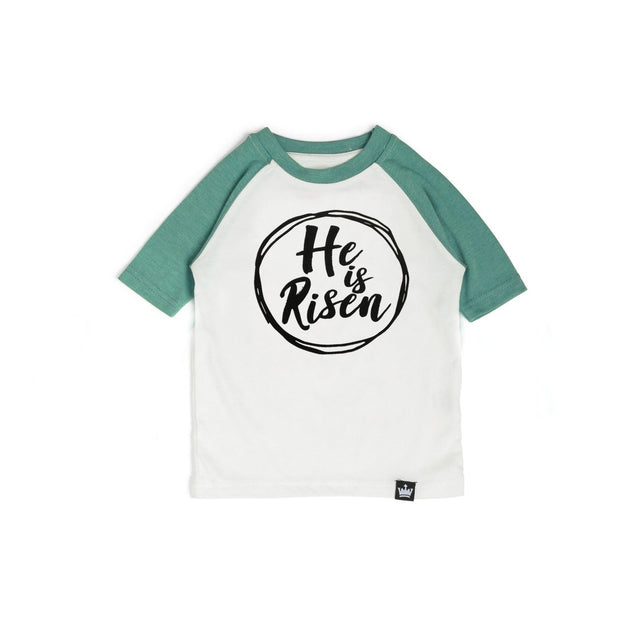 He is Risen Emerald Green Raglan Shirt