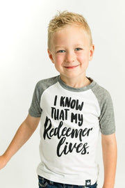 Redeemer Lives Gray Raglan Shirt
