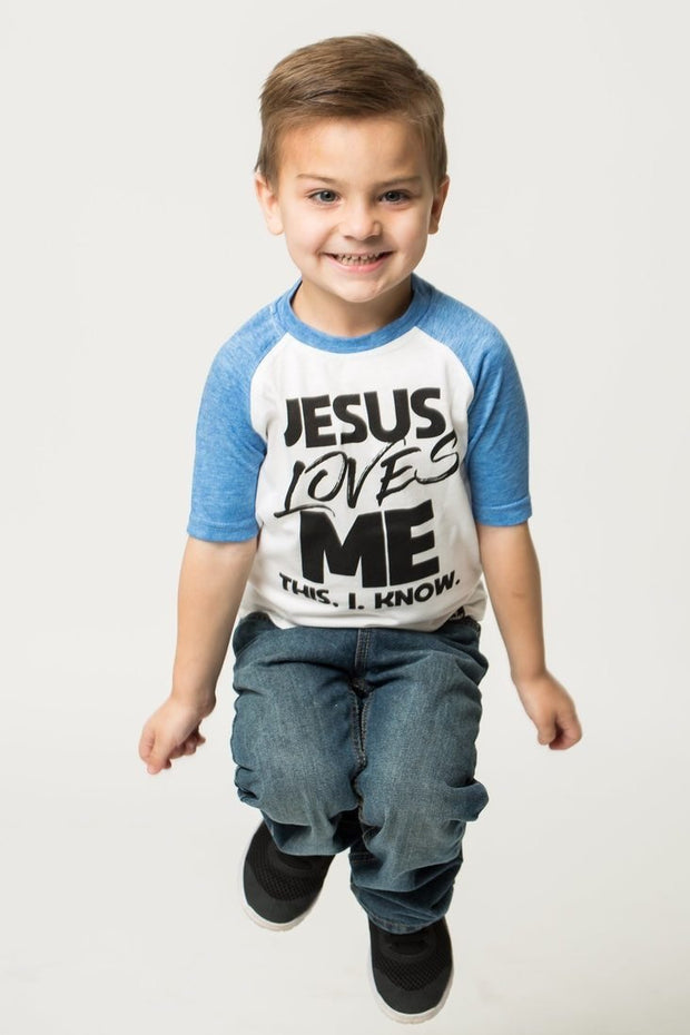 Jesus Loves Me Cobalt Blue Raglan Shirt