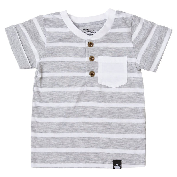 Thick Gray Stripe Short Sleeve Henley Shirt