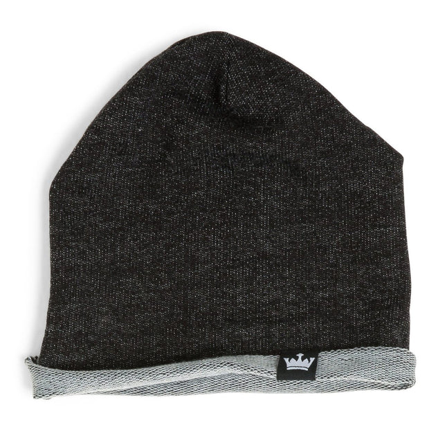 Black Faux Denim French Terry Beanie