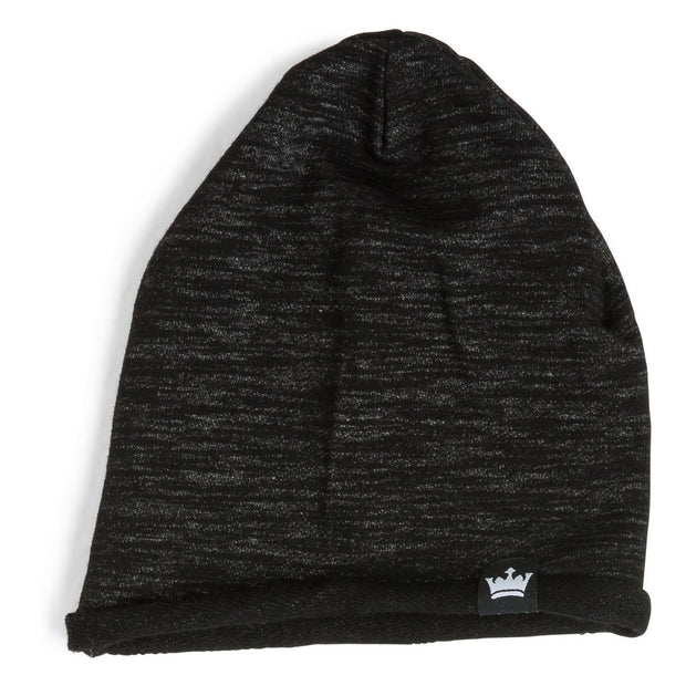 Black Melange French Terry Beanie