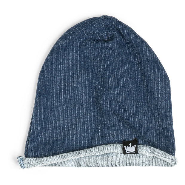 Blue Faux Denim French Terry Beanie