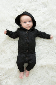 Black Melange French Terry Button Up Hoodie Romper