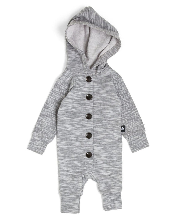 Gray Melange French Terry Button Up Hoodie Romper