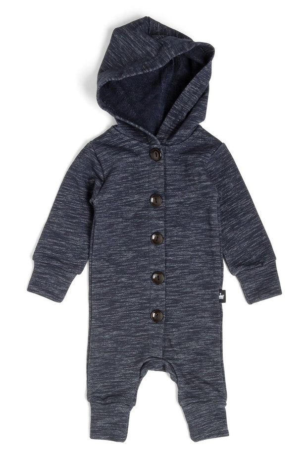 French Terry Button Up Hoodie Romper