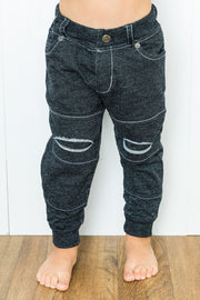 Black Faux Denim Distressed French Terry Jeggings