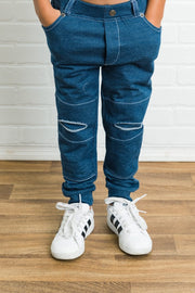 Blue Faux Denim Distressed French Terry Jeggings