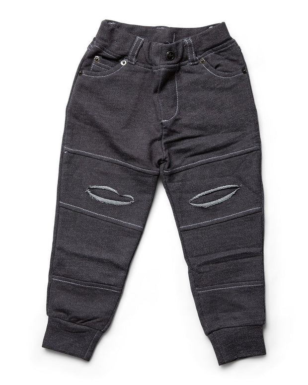 Charcoal Faux Denim Distressed French Terry Jeggings