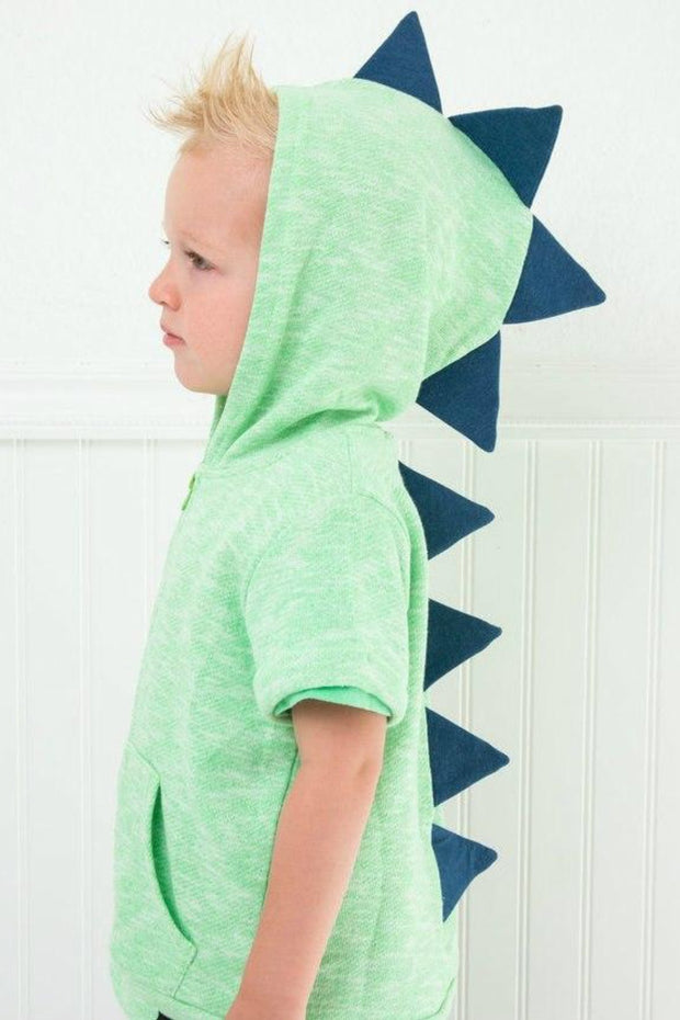 Green French Terry Zip Up Dino Hoodie
