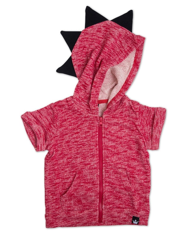 Red French Terry Zip Up Dino Hoodie