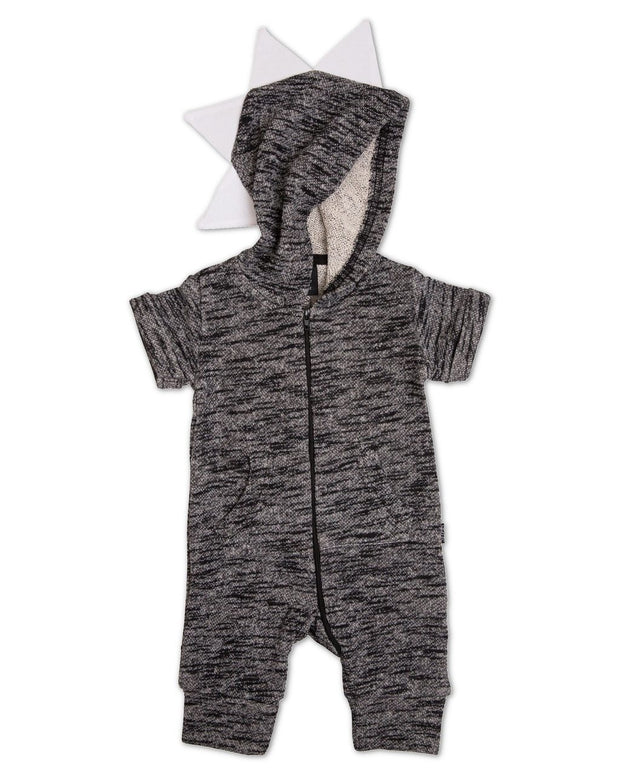 Black French Terry Zip Up Dino Hoodie Romper
